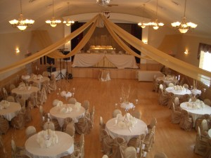 Banquet Hall decorated for a wedding reception - view from the upstairs gallery
