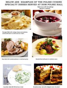 Polish Cuisine specialty dishes served at Dom Polski during banquets