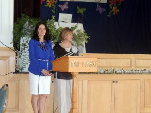 Dorota Zalewska and Danuta Pogorzelska address the Audience