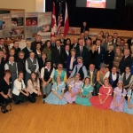 "Group photograph of participants at the dinner, with the ensemble ""Tatry"".  Photo - Rafal Nowakowski"