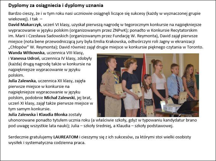 Polska Szkola - Dyplomy_Uznania_rok 2014/2015