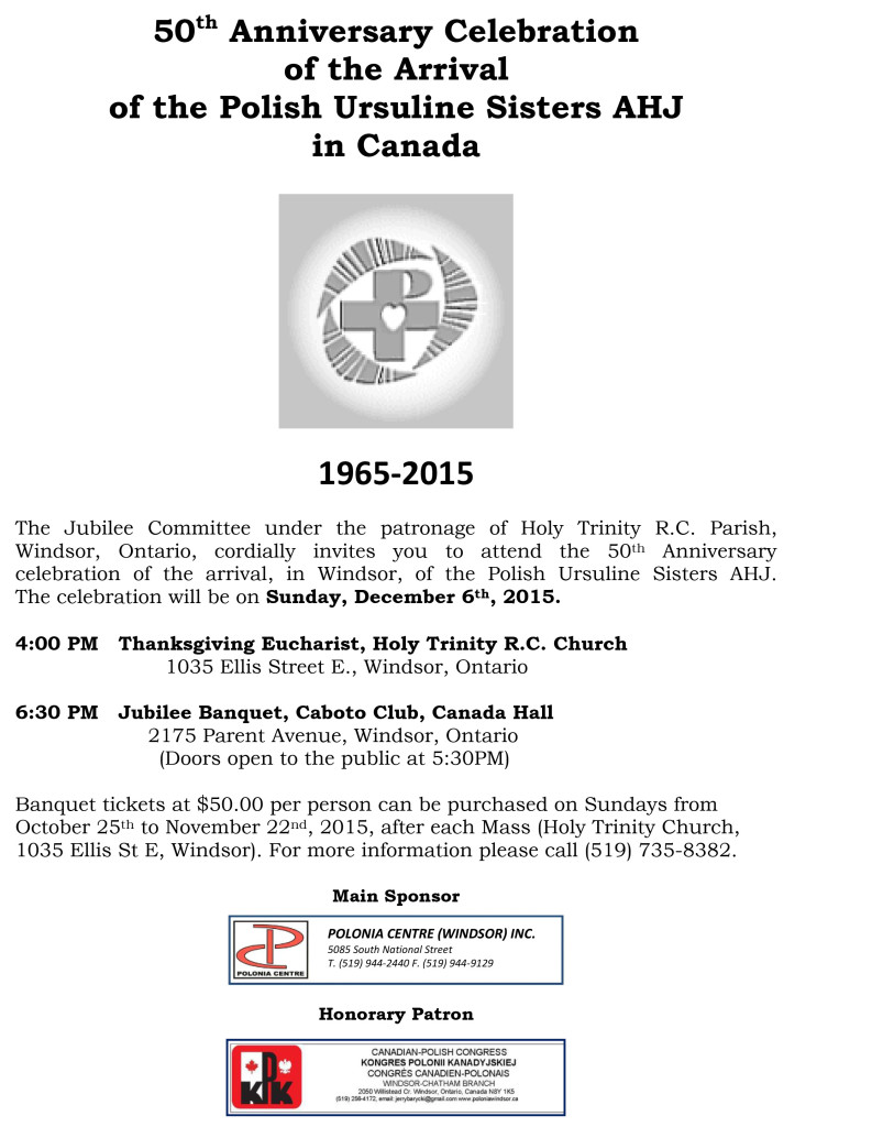 50th Anniversary Celebration of the Arrival of the Polish Ursuline Sisters AHJ in Canada ( English )-1