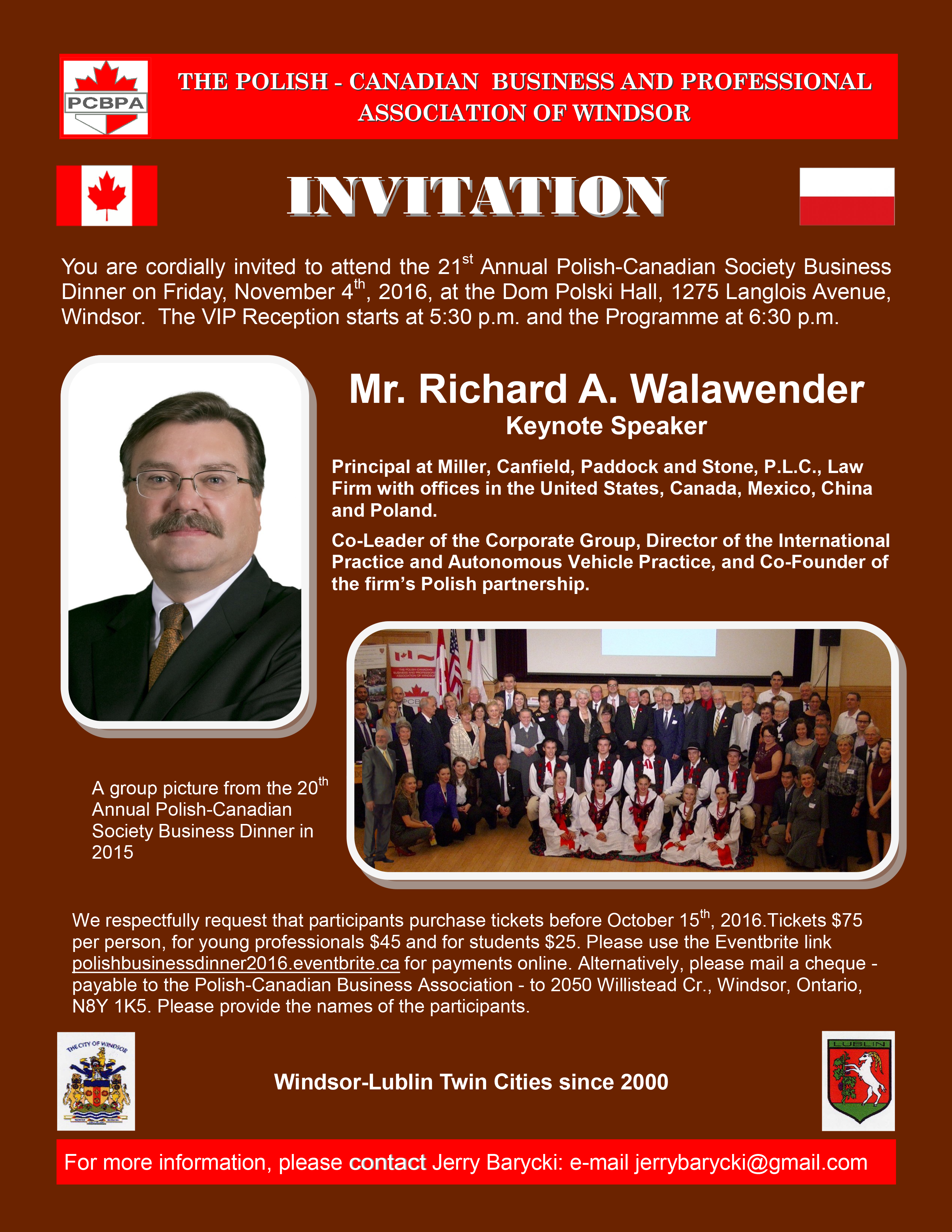 polish canadian business and professional association of windsor 2016 business dinner invitation